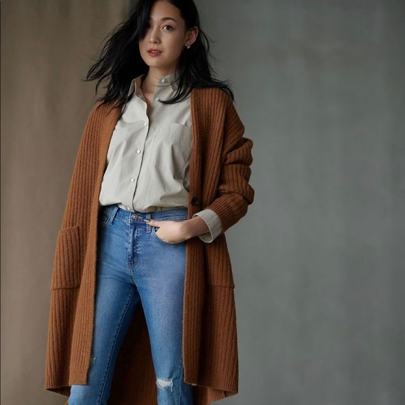 40a602d51130 Uniqlo Jackets & Coats | Brown Wool Ribbed Knitted Coatsweater ...